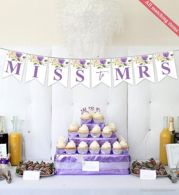 Purple Floral Bridal Shower Banner Template Printable