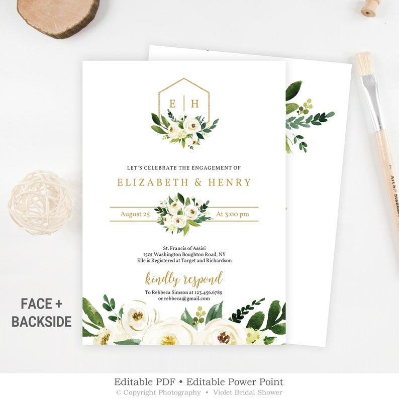 Gold Monogram Engagement Invitation Editable Greenery Etsy