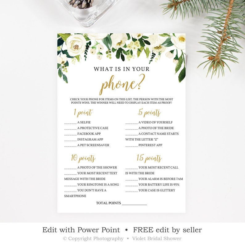 What is in Your Phone Game Template, Printable Greenery Bridal Shower Game,  White Floral Calligraphy Wedding Game, INSTANT DOWNLOAD WGFS11