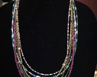 Six strand beaded necklace