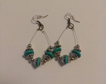 Teal and silver bead earrings