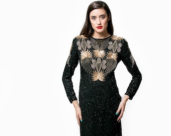 Vintage Black Covered in Sequins and Gold Beading Dress