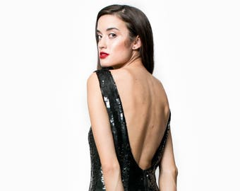 Vintage Va Va Voom Backless Sequin Dress