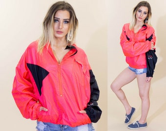 becec3320054 Vintage 80s Puma Pink and Black Color Block Windbreaker Jacket