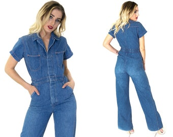 2037461213a0 Vintage 70s Farah Denim Flared Jumpsuit