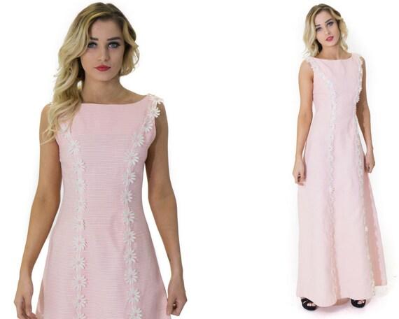 Vintage 70's Daisy Pastel Pink Maxi Dress