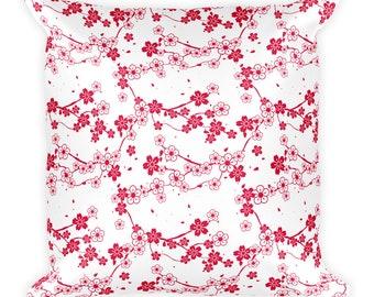 Cherry blossom, throw pillow, floral pillow, decorative pillow, sofa pillow, cute pillow, mothers day gift, summer pillow, floral pillows