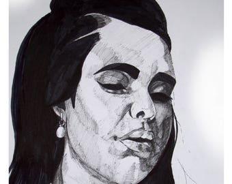 Pen & Ink Female Model