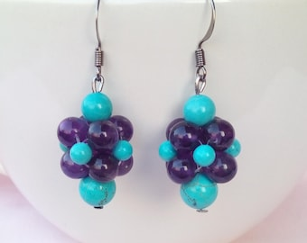 Grape amethyst and natural turquoise stone earrings