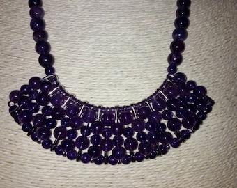 Bib necklace / bib / statement Boho natural Amethyst stones