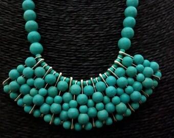 Bib necklace / bib / statement Boho synthetic turquoise beads