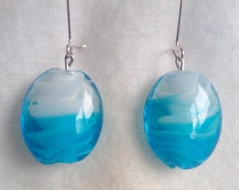 Blown glass Lampwork earrings, sky blue and other colors