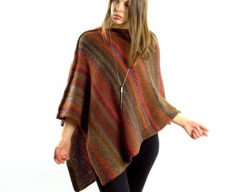 Rust poncho | Chunky knit poncho for women, Crochet poncho Wool knitted poncho women, Boho poncho, Trending now Knitwear, Plus size clothing
