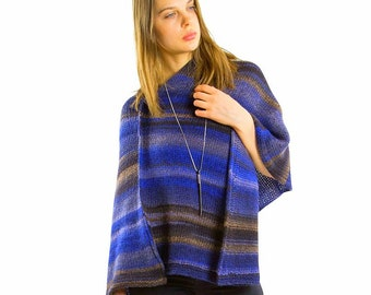 Blue poncho Chunky knit poncho for women Crochet poncho Boho poncho Wool knitted poncho women Trending now Knitwear Plus size clothing Gift