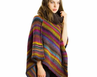 Hand knitted Poncho, Women knitwear Knit poncho, Chunky knit poncho, Wool poncho women, Crochet poncho, Poncho outfit, Gift ideas girlfriend