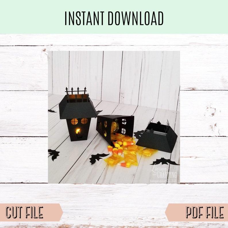Halloween lantern cut file Haunted House Lantern SVG file image 0