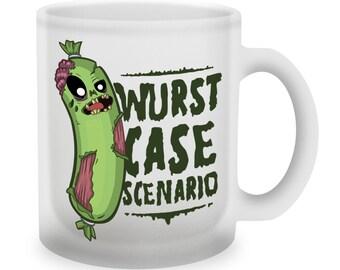 "Gixwear Gamer Coffee Mug ""Wurst Case Scenario"" by Evgeniy Aduev for Mmo-Rpg fan, Nerd and Geek frost glass"