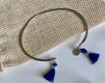 Silver Bangle and blue Pom Pom