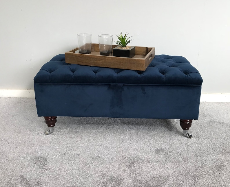 Home & Garden Extra Large Chesterfield Footstool/coffee Table In Plush Velvet 2019 Material High Safety