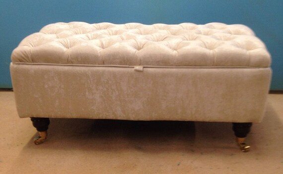 super popular 82e87 f7952 Large Deep Buttoned Chesterfield Storage Footstool Ottoman - Crushed Velvet  Fabric - Upholstered Coffee Table