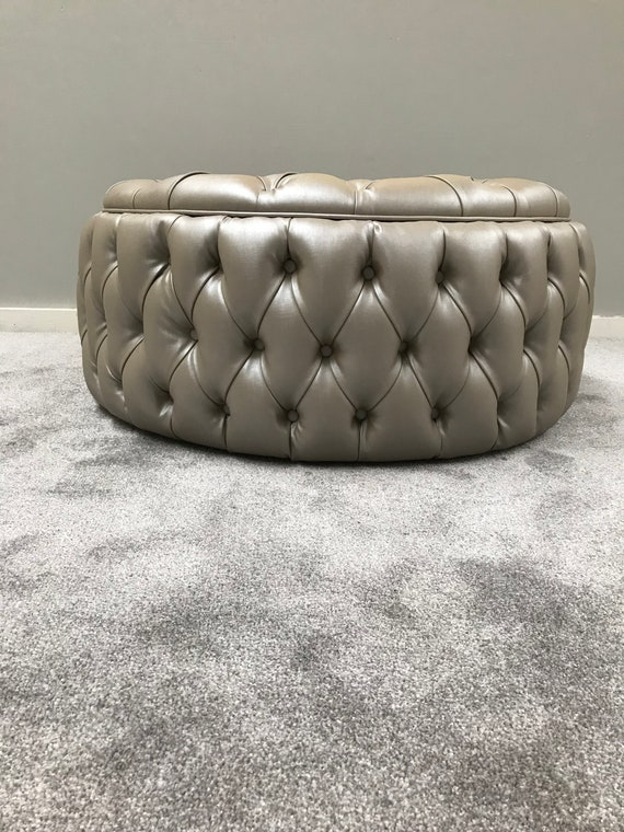 Stupendous Bespoke Chesterfield Chair Deep Buttoned Circle Ottoman Unique Furniture Upholstered Coffee Table Designer Footstool Circle Seat Short Links Chair Design For Home Short Linksinfo