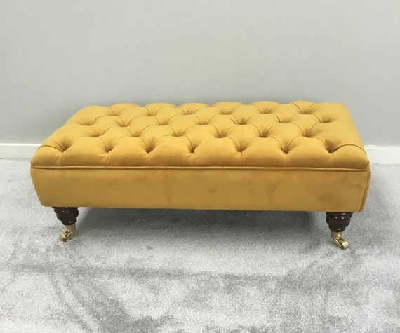 Large Bespoke Ottoman Footstool Coffee Table Plush Velvet Etsy