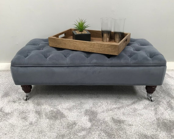 Large Footstool Coffee Table Bespoke Ottoman Plush Etsy