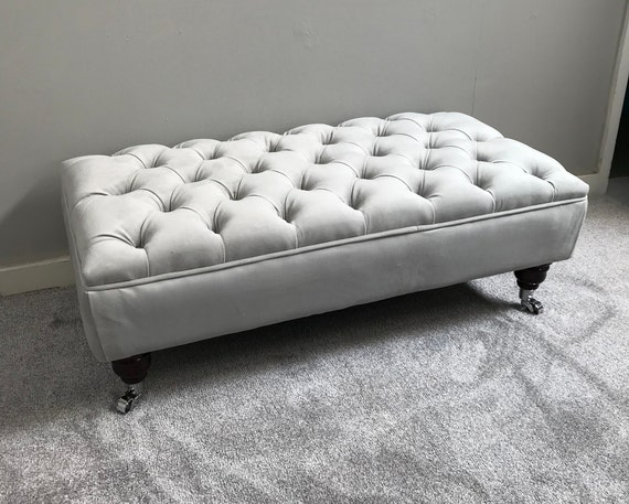 Large Grey Footstool Coffee Table Bespoke Ottoman Plush Velvet Warwick Fabric Silver Chesterfield Deep Buttoned Stool