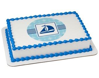 Nautical Boat Edible Sheet Cake Topper