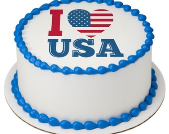 "Celebrate America - I Love USA 8"" Round Edible Cake Topper"