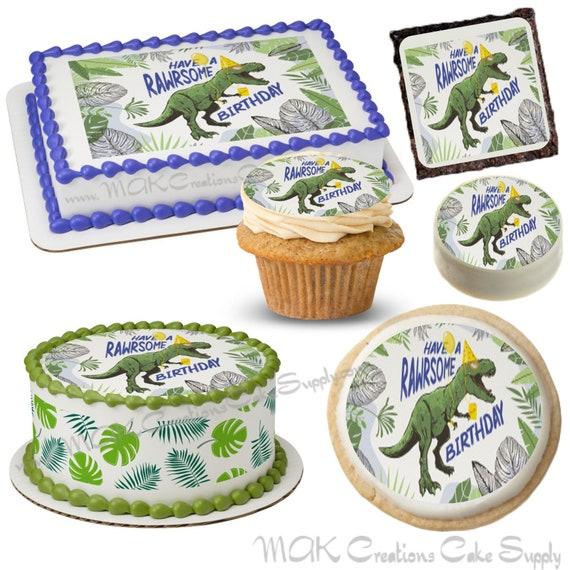 T REX  Have a Roarsome Birthday Dinosaur Edible Dessert