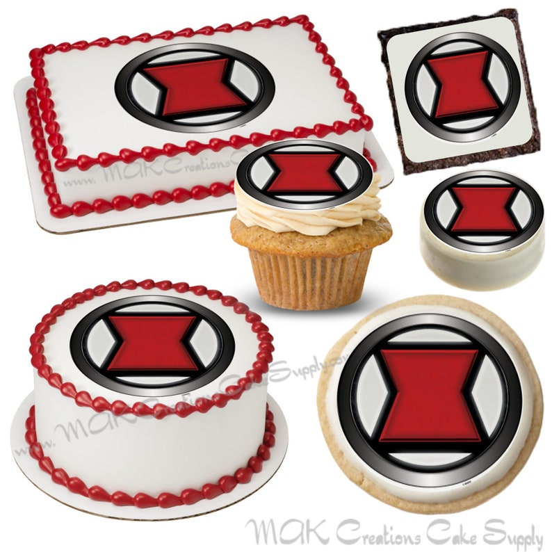 Black Widow Icon Edible Dessert Toppers Your Choice in Size. image 0