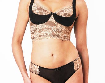 2PC Bralette and Panty Set, Black and Tan