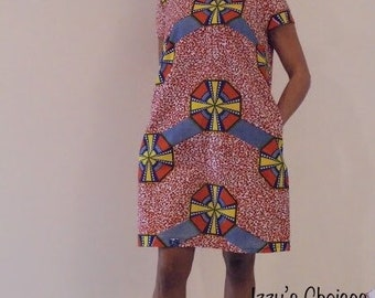 Dress in African print a trapeze
