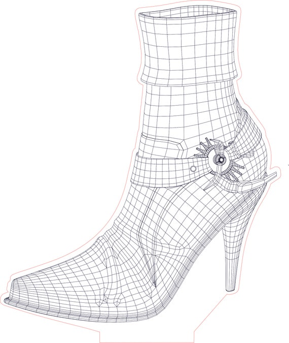 Silver-tone 3-D High Heel Shoe w// Crystals Dangle Charm NEW