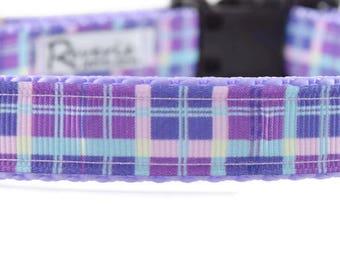 Plaid Dog Collar, Purple dog collar, purple plaid dog collar, girl plaid collar, pretty dog collar, plaid dog collar, designer dog collar