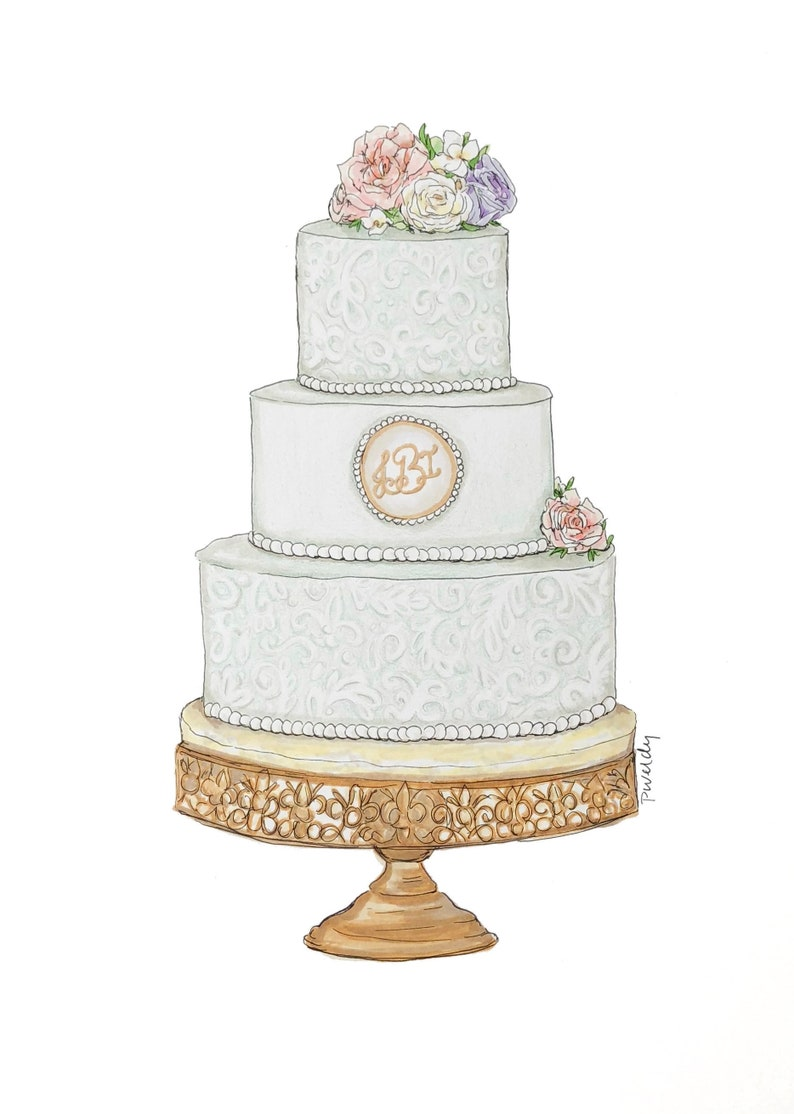 Wedding Cake Drawing, Cake Illustration, Custom Cake Drawing, Wedding Gift,  Cake Painting, Paper Anniversary, Anniversary Gift