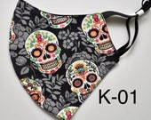 SKULLS - 100 Cotton Face Masks (Double or Triple Layer). Washable and Reusable. Handmade in the USA.