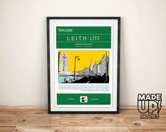 "Retro Poster ""Leith:Lite"" The Shore, Leith Wall Art, Edinburgh Print, Scottish Art"
