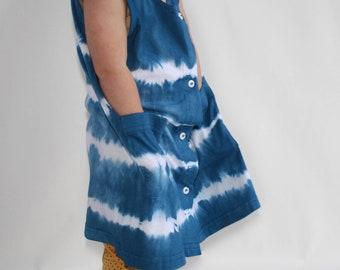 100% Cotton Hand-Dyed Button Up Dress, Shibori Toddler Dress, Blue Dress, Tie Dye Dress, Girls Summer Dress, Indigo Dress