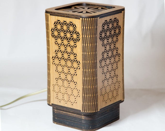 Japanese-style Japanese-style wooden llampe, Japanese geometric pattern handcrafted laser cut.