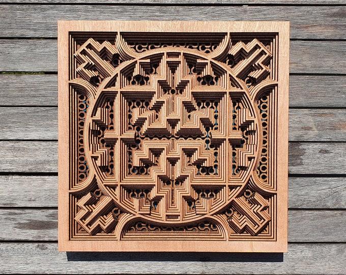 Shipibo painting in sacred amazon geometry wood - Ayauasca. Handcrafted laser cutting.