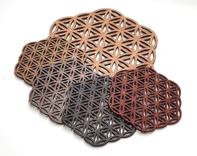 Flower of Life - Coasters - Wooden Energy Grid - Sacred Geometry - Craft Laser Cutting.