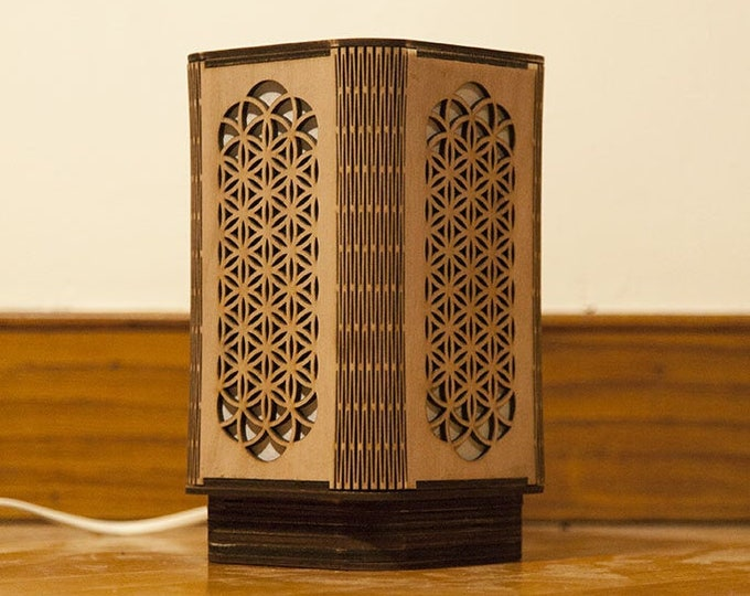 Japanese-style japanese wooden lamp with flower, sacred geometry flower of life handcrafted laser cut.