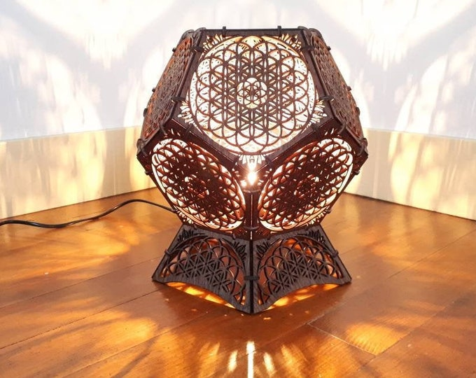 Wooden lamp - Dodecahedron shape - sacred geometry flower of life projection of shadows - craft laser cut-out