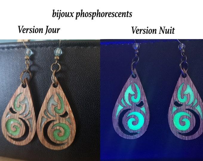 Phosphorescent Celtic Wood Earrings