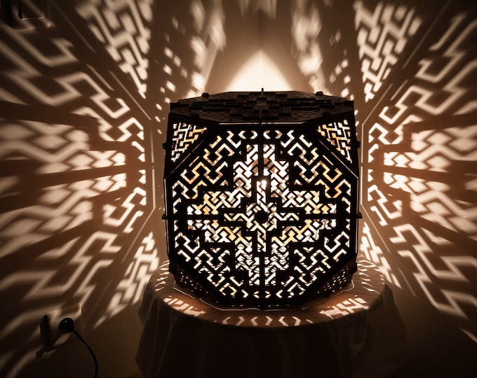 Shipibo lampshade wooden sketch drawing sacred geometry of Amazonia projection of shadows of handcrafted laser cut