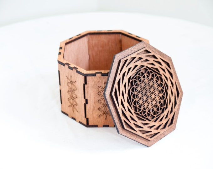 Wooden box - flower of life - sacred geometry - Jewelry - stones - Craft laser cutting.