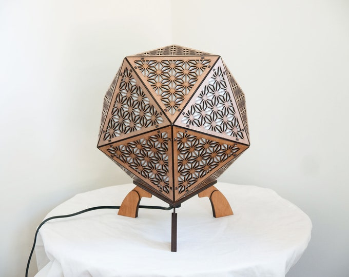 Japanese-style wooden lamp - bedside lamp - suspension - icosahedron platonic shape- sacred geometry - Laser cut.
