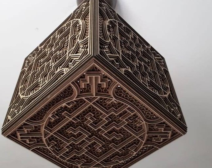 Wooden lamp to be laid or Shipibo lampshade with sacred geometry drawing of Amazonian projection of shadows of craft laser cutting shipibo